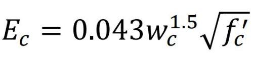 فرمول مدول الاستیسیته بتن